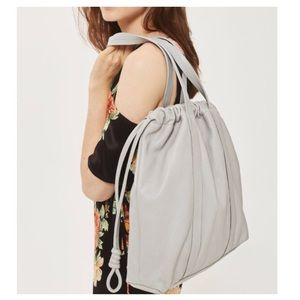 TOPSHOP Leather Gray drawstring Tote